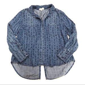 Anthropologie Cloth & Stone Printed Chambray Shirt